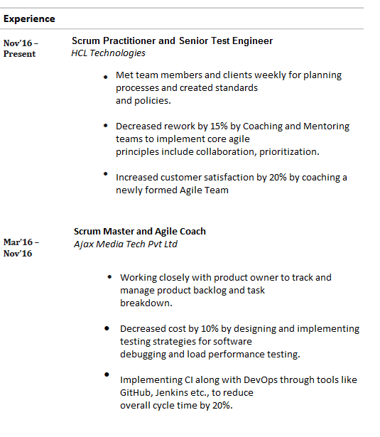 how to add work experience in resume examples